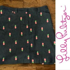 Lilly Pulitzer Pink 🍍 Denim Skirt, 12